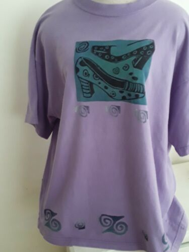 Vintage Blue Fish Organic Hand Painted Cotton Purp