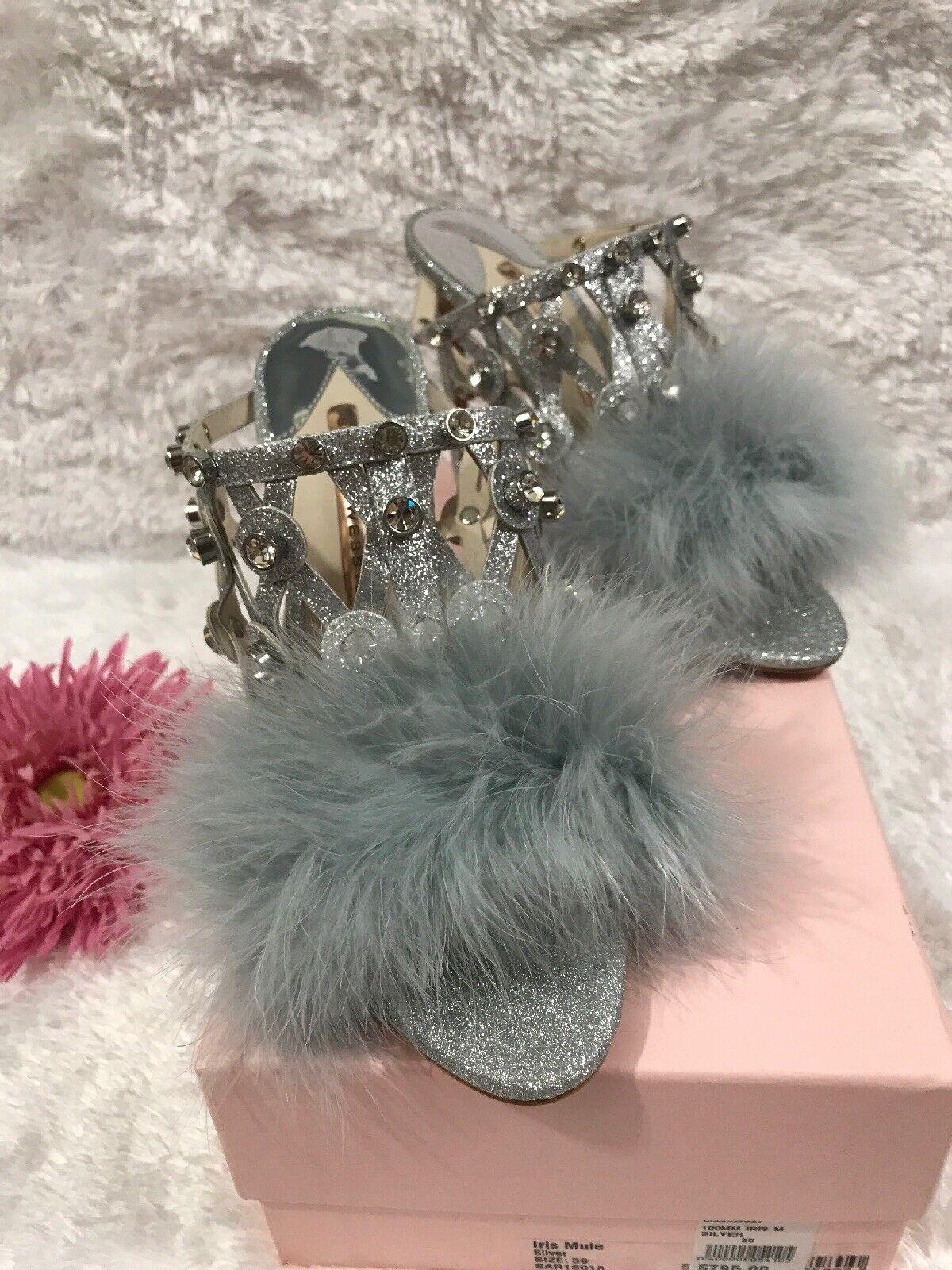 Sophia Webster Iris crystal-embellished feather-trimmed mule Silver SZ 38.5    795 41cabf