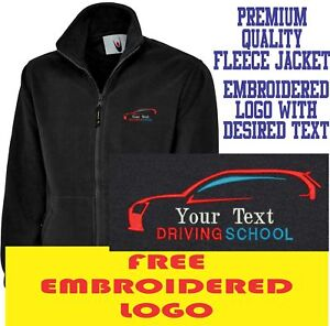 Image is loading Personalised-Embroidered-Fleece-Jacket-DRIVING-SCHOOL- workwear-LOGO