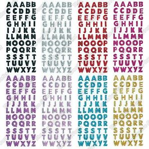 Glitter Crystals Alphabet Letter Stickers Self Adhesive