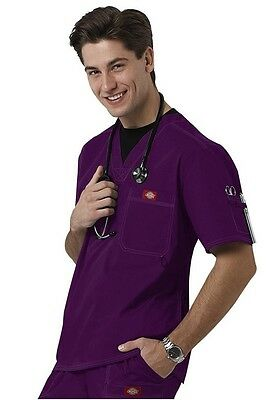 Dickies Medical Gen Flex Eggplant Men's Utility Top Sz S-XXL NWT
