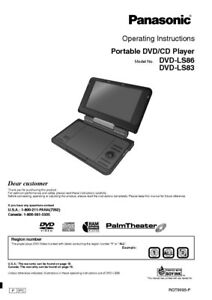 panasonic dvd ls83 dvd ls86 dvd player owners instruction manual ebay rh ebay com Panasonic Portable DVD CD Player Panasonic Portable DVD CD Player