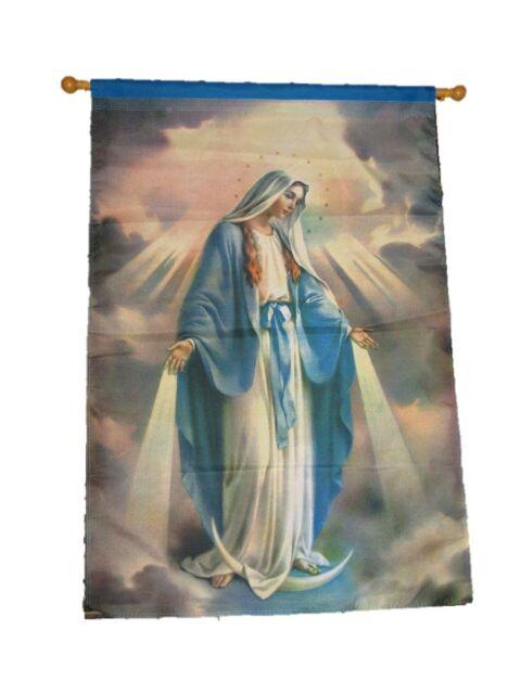 da40884766cd7 28x40 Printed Virgin Mary Clouds Christian Catholic Nylon Garden Flag  28