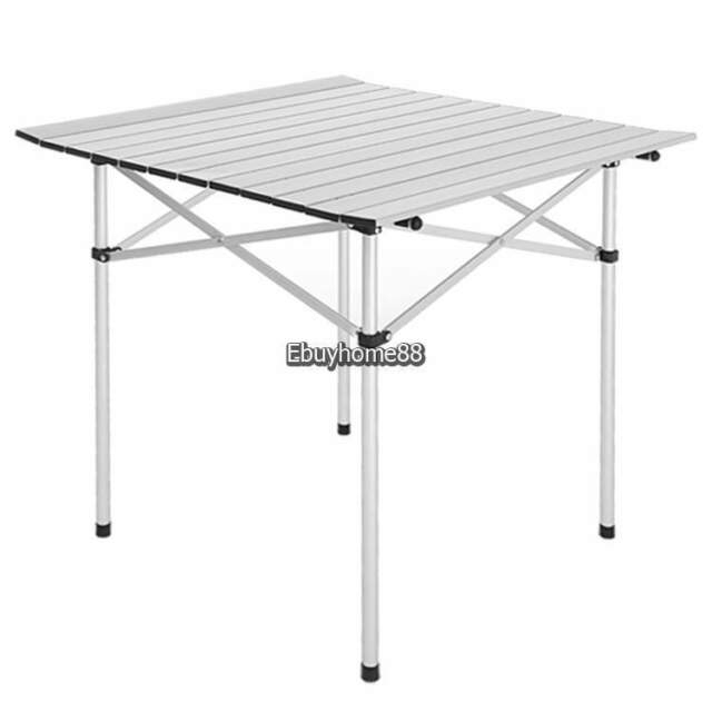Lightweight Aluminum Roll Slat Folding Table Portable Camp Beach Party Silver Eh