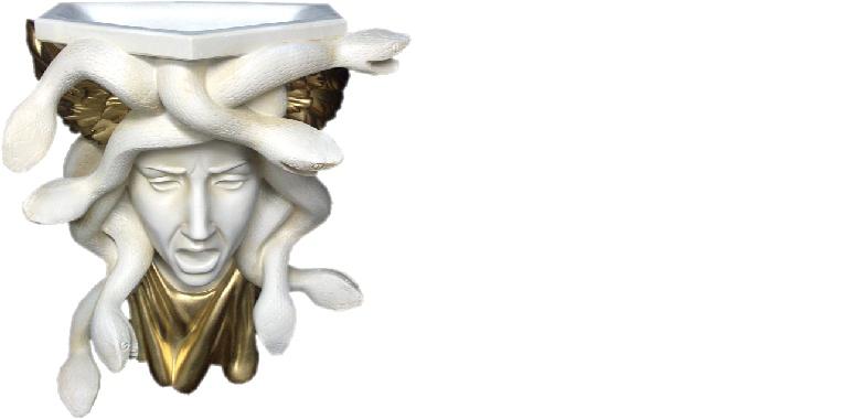 Design Schlangen vase Meduza Vasen Wand  Skulptur Dekoration Deko Wandtopf 6310