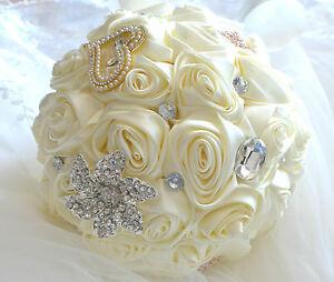 Neu Braut Standesamt Brautstrauss aus Rosen mit Strass Hochzeit