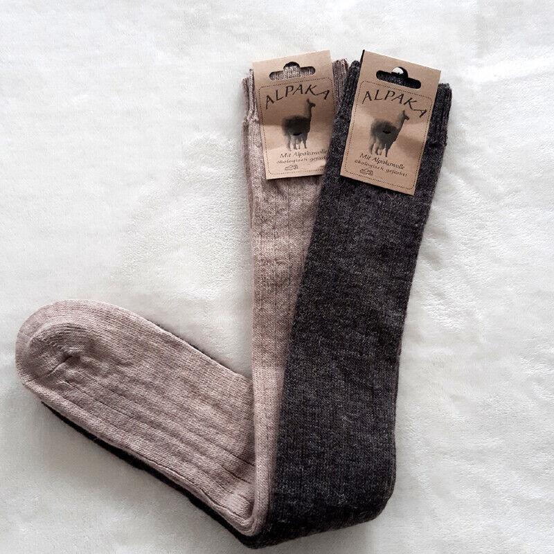 2 Paar Damen Soft Alpaka Kniestrümpfe 65%Schafwolle 35% Alpakawolle Braun 35-42