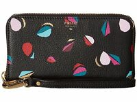 B Rand Fossil Sydney Leather Zip Phone Wallet Black Multi/red/gray-black