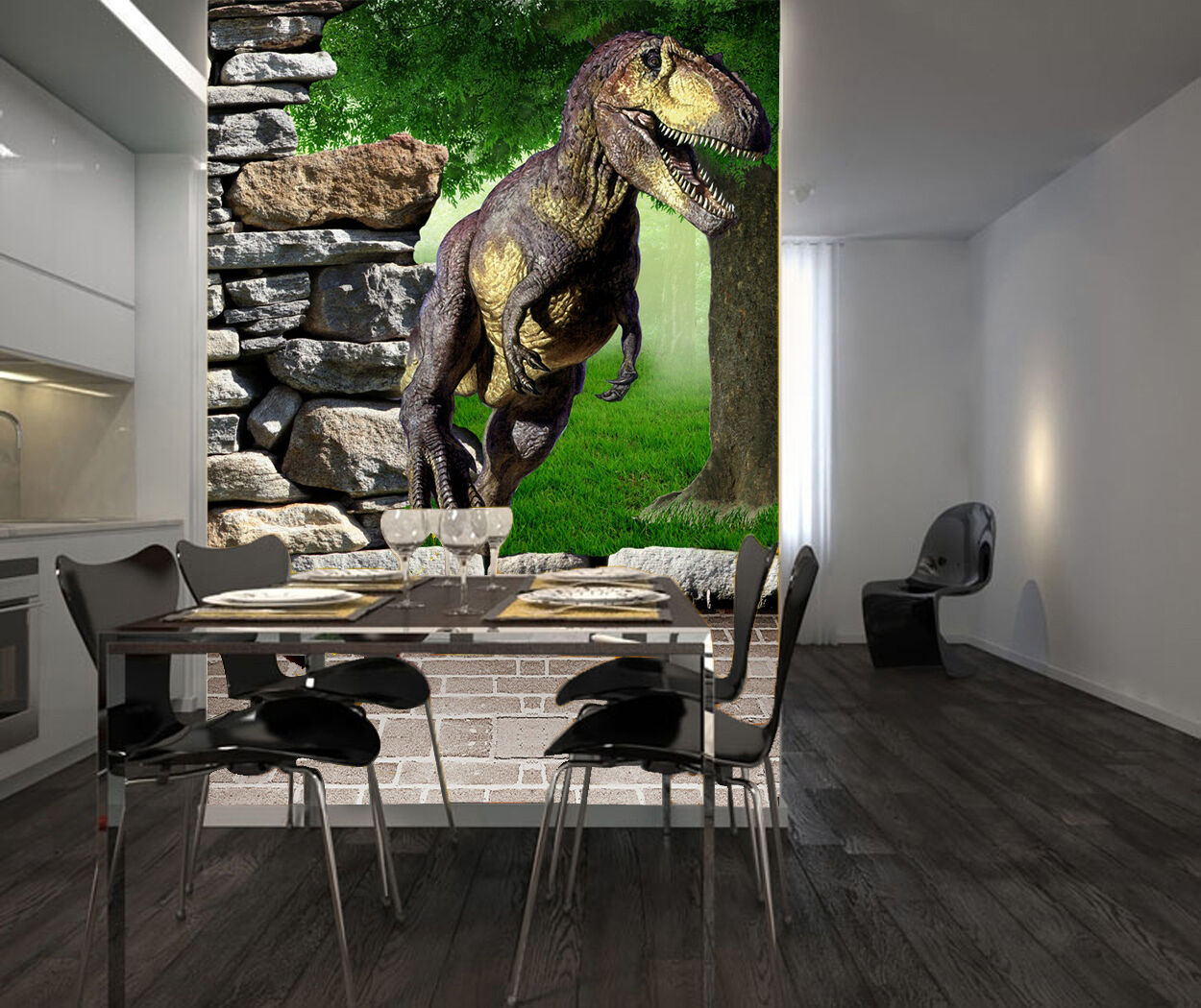 3D forest dinosaur Wall Paper Print Decal Wall Deco Indoor wall Mural