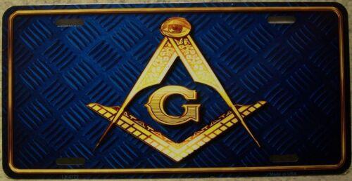 Aluminum License Plate Freemasonry Masonic Mason Symbol NEW dark blue