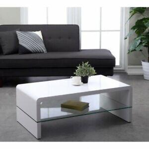 PRIMIS Table basse 105x55cm laqué blanc