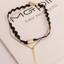 Black Gold Multilayer Necklace Chocker Cool Women Chain Jewelry Simple Design