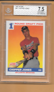 1991 SCORE #671 CHIPPER JONES Rookie BGS GRADED 7.5 N/M+ Atlanta Braves Card