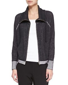 Eileen-Fisher-Organic-Cotton-Funnel-Neck-Cardigan-Charcoal-Zip-Up-NWT-S