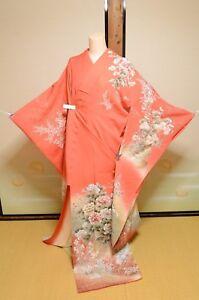 861d2b017 Image is loading Furisode-Kimono-Silk-Women-Japanese-vintage-Wedding-Orange-