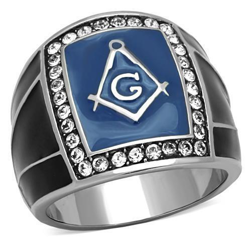Masonic Freemason Ring Stainless Steel Blue Crystal Frame