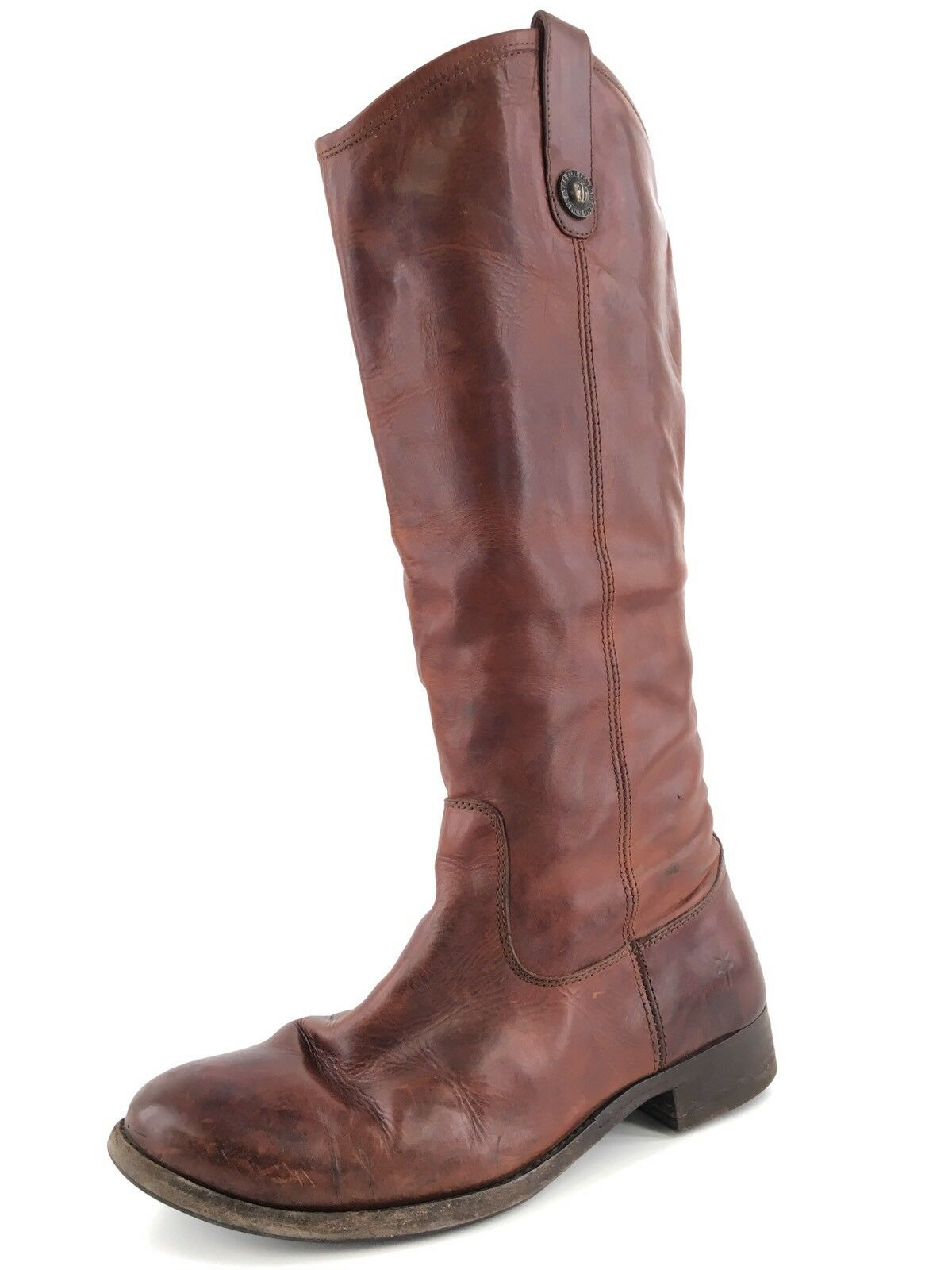Frye Melissa Button Cognac Leather Knee High Riding Boots Women's Size 7 M