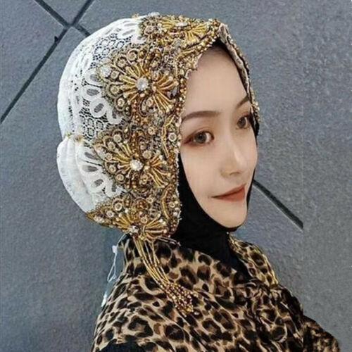 100/% Lace Luxury Beaded Inner Hijab Cap Islamic Scarf Shawls Turban Headband Hat