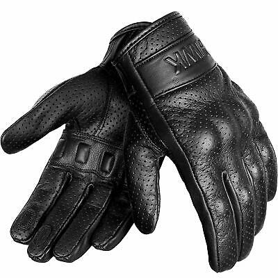 NEW Mens Genuine Solid Black Leather Driving Motorcycle Gloves Bike M L XL GIFT