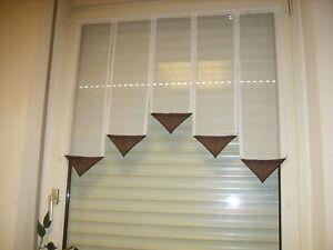 Scheibengardinen Scheibengardine 80cm breit Weiß/Braun Gardine 80