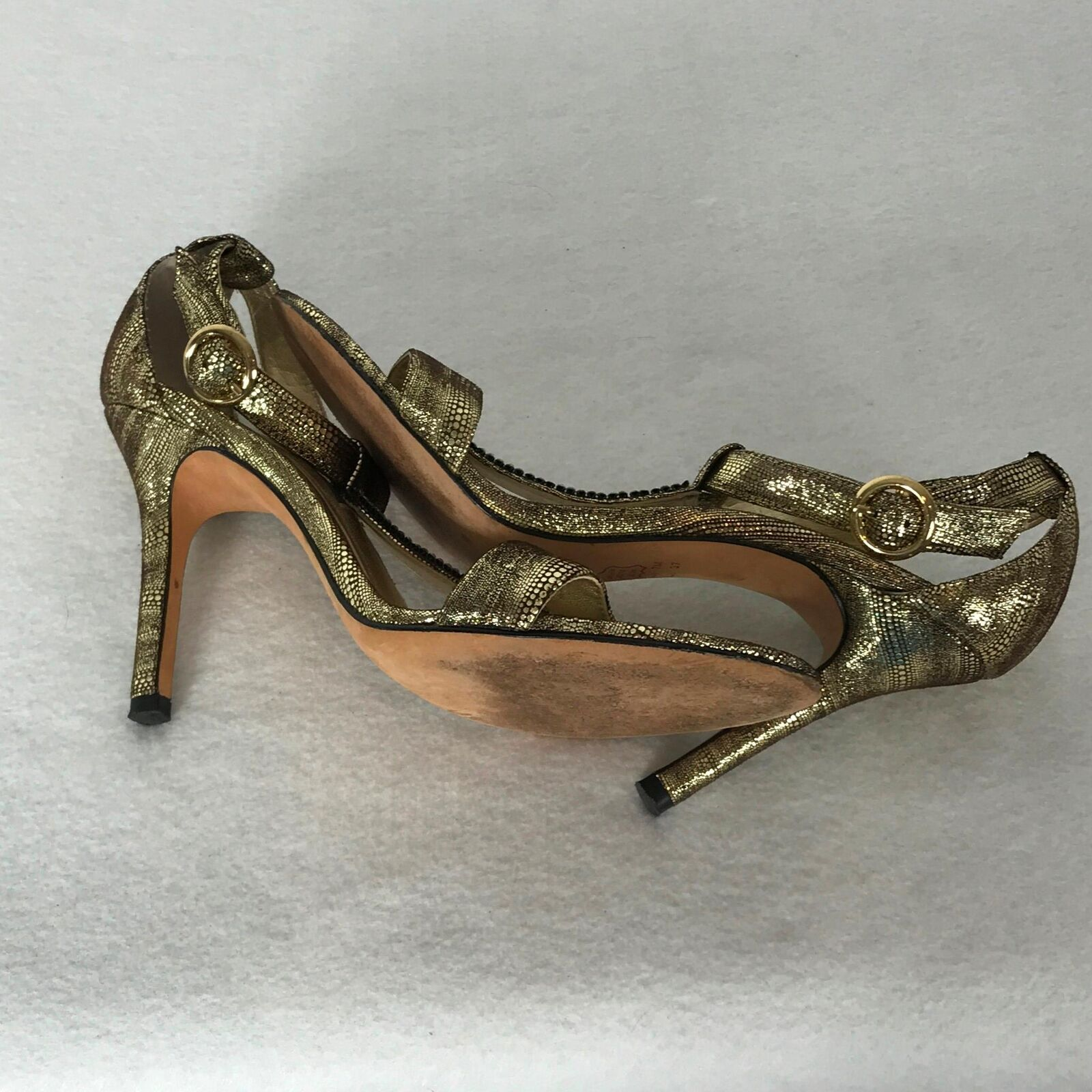 Nina New New New York Sz 7M US gold Olive Brown T-Strap Open-Toe Leather Sandal 4  Heels e4b294
