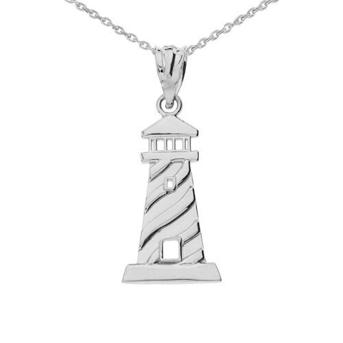 Solid 14k Weiss Gold Leuchtturm Anhänger Halskette