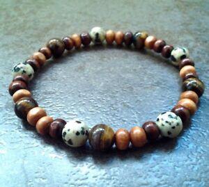 Details About Mens Stone Wood Bracelet Beads Stretch Wristband Beaded Bangle Tiger Eye Jasper