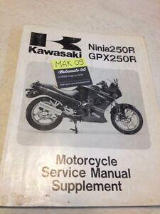 Kawasaki Gpx250r Gpx250 R Ninja 250 Supplement Workshop Manual
