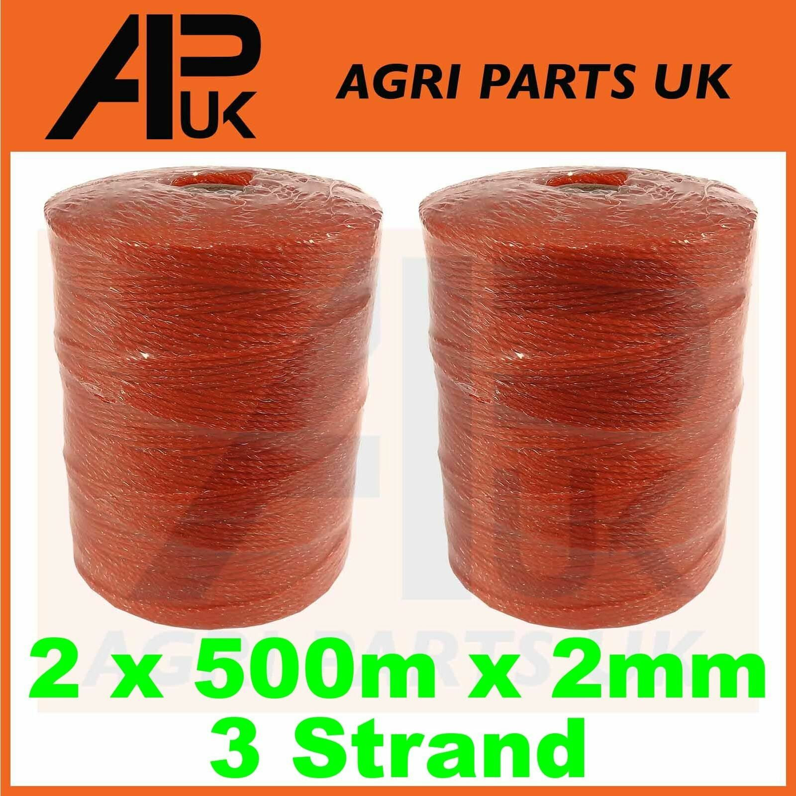 2 Rolls 500m x 2mm 3 Strand Electric Fence Polywire Poly Wire Fencing Energiser