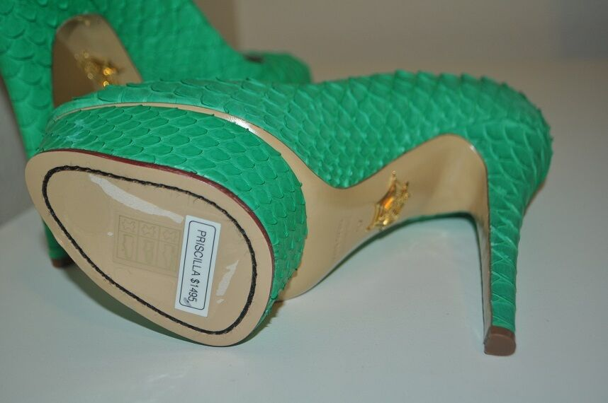Nuevo En Caja  1495 1495 1495 Charlotte Olympia Priscilla Python Zapato de tacón Bomba de plataforma verde 37 - 7 e1b872