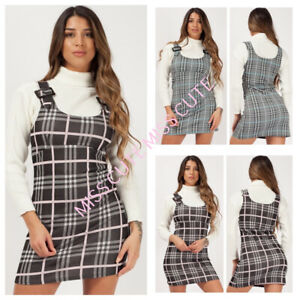 55fe6ce445844 New Women's Ladies Buckle Strap Check Print Pinafore Dress Checked ...
