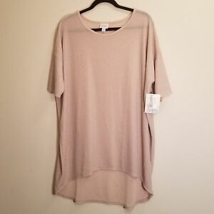 NWT-LulaRoe-Elegant-Collection-Irma-Tunic-Top-Size-L-Pink-Silver-sparkle