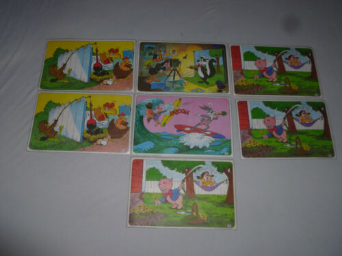 1976 PEPSI WARNER BROS PLACEMAT LOT BUGS BUNNY ROAD RUNNER WILE COYOTE VINTAGE >