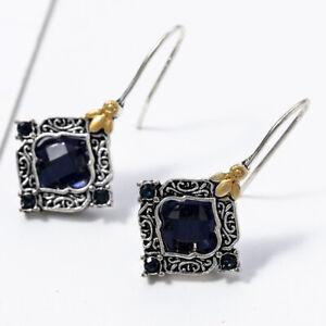 925-Silver-Sapphire-Earrings-Ear-Hook-Drop-Dangle-Women-Wedding-Jewelry-Gift
