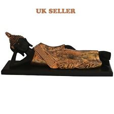 SLEEPING BUDDHA STATUE IN BLACK AND GOLD BUDDAH STATUE  UK SELLER FREE P & P