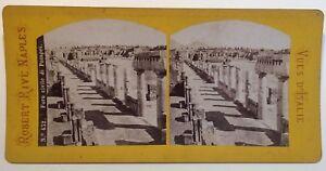 Pompei Strada Salustio Italia Foto Robert Rive Napoli Stereo Vintage Albumina