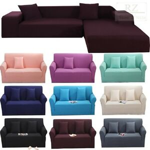 Image Is Loading Stretch Elastic Fabric Sofa Cover Sectional Corner Couch