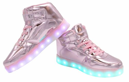 Galaxy LED Shoes Light Up High Top Strap /& Lace Men's Sneakers Casual