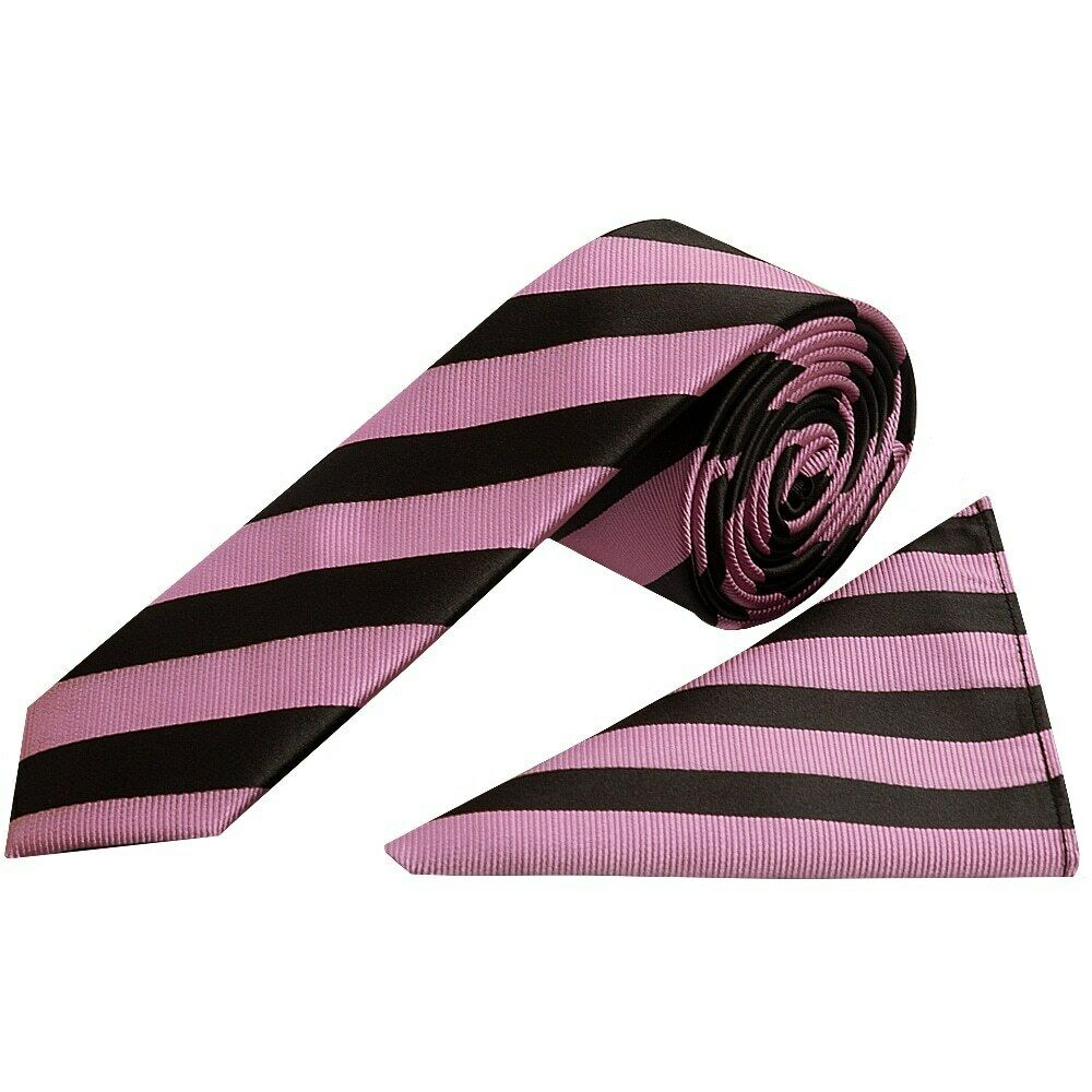 Black and Pink Striped Skinny Men's Tie and Pocket Square Set Wedding Tie