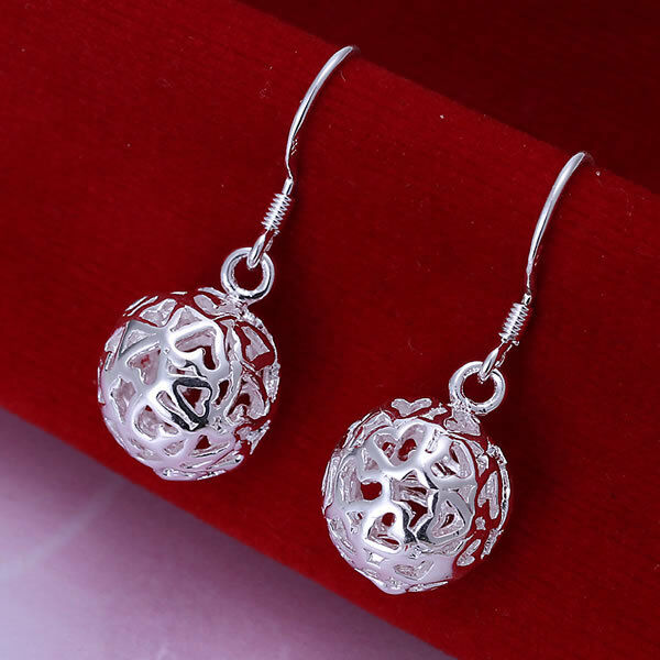 Silver Plated Filigree Style Hollow Ball Earrings.Lovely Womens 925 Sterling