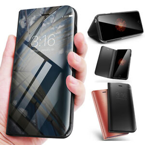 huge discount c3d46 3f871 Details about For Apple iPhone X 8 7 Plus Luxury Mirror Clear View Smart  Flip Stand Case Cover