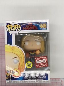 Funko POP! Captain Marvel Glow #446, Marvel Collectors Corps NOT MINT BOX L05
