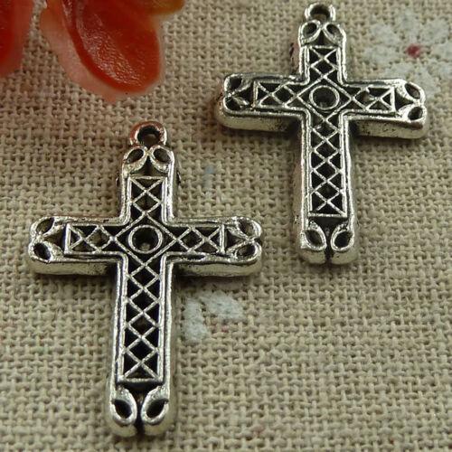 Free Ship 200 pieces tibetan silver cross charms 29x20mm #1683