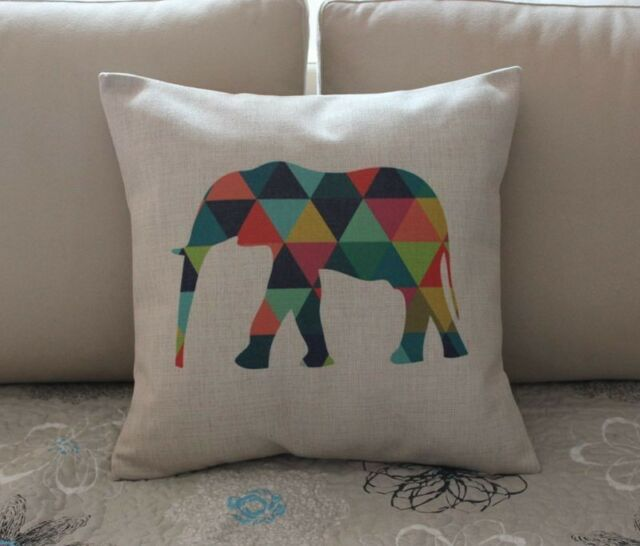 Colorful Geometries Elephant Cotton Linen Throw Pillow Cushion Cover Decor Z587