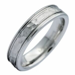 5mm-White-Tungsten-Carbide-Hammered-Center-Polished-Edge-Wedding-Band-Ring
