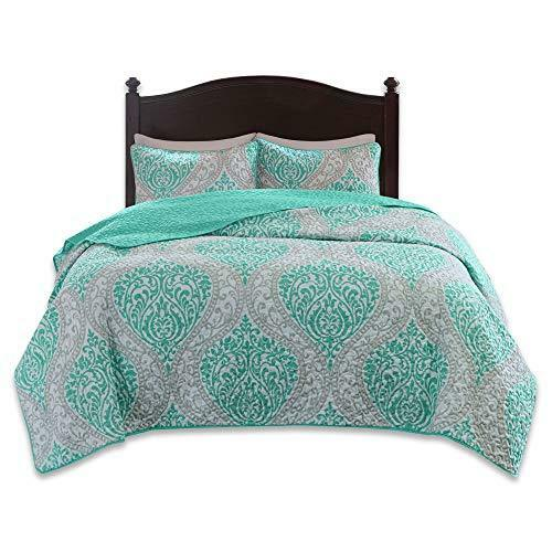 Mini Quilt Set 3 Piece Teal and Grey– Printed Damask Pattern Full Queen