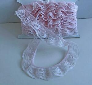 Vintage-1-1-4-034-Wide-Ruffled-Gathered-Lace-Trim-7-Yards-Tulle-Soft-Binding-Roses