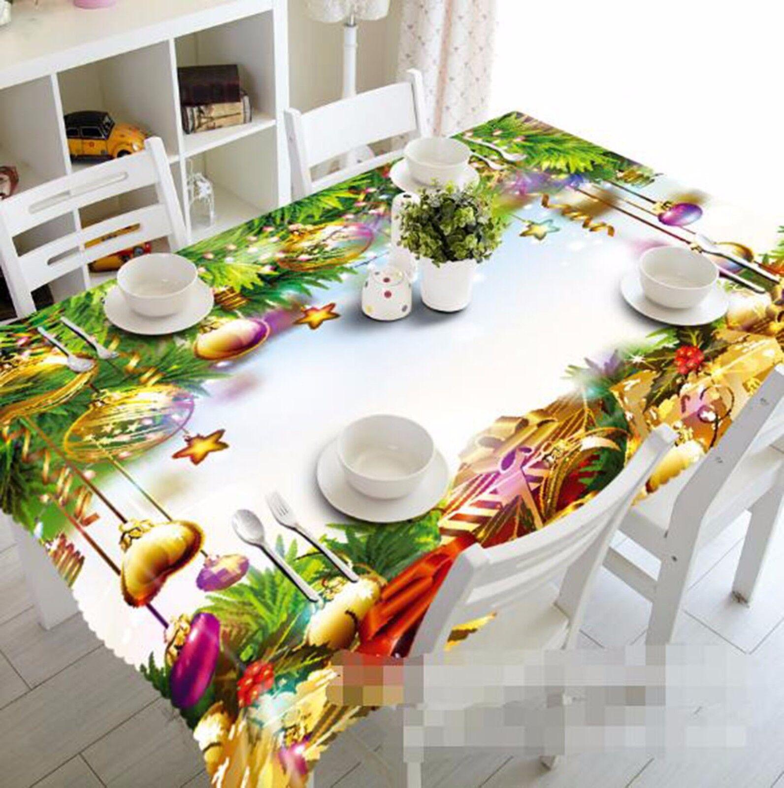 Or 3D Cloches Nappe Table Cover Cloth fête d'anniversaire AJ papier peint Royaume-Uni Citron