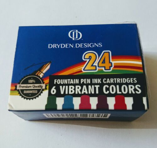 Dryden Fountain Pen Ink Cartridges Assorted Colors 24 per box