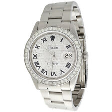 Mens Rolex Datejust 36mm Roman # Diamond Dial Watch Oyster Stainless Steel 4 CT.